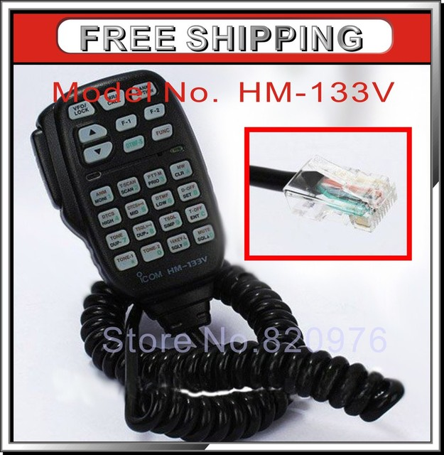 100% Brand New Black Speaker Mic handheld microphone HM-133V DTMF For ICOM IC-2200H IC-V8000 Car Radio 8pin+free shipping