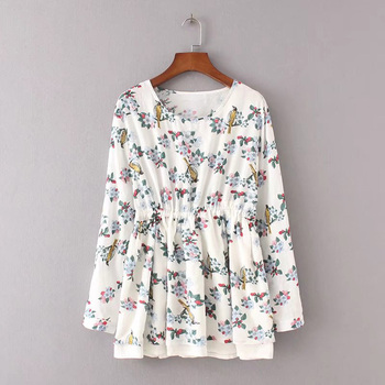 Women Floral Print Blouse Tops 1950s 60s Vintage Autumn Clothing Casual long Sleeve Cotton Fabric High Quality Blouse blouse