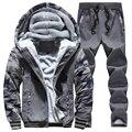 Inverno Grossa Camisola De Veludo Marca treino Conjunto Patchwork Hoodies SweatSuits Mens Hoodies E as Camisolas Dos Homens 4XL