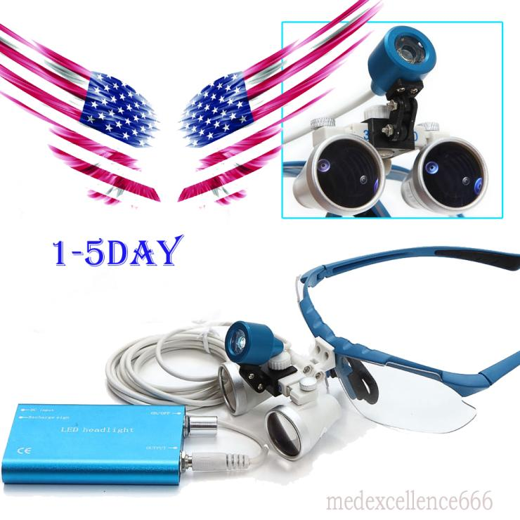 From USA !! Blue Dentist Dental Surgical Medical Binocular Loupes 3.5X 420mm Optical Glass Loupe 2018 new fashion dentist dental surgical medical binocular loupes optical glass loupe with colorful carry case free shipping