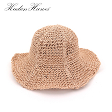 598e865188bee Novo Chapéu Mulheres Chapéu de Praia de Palha do Verão Chapéus de Sol Arco Aba  Larga Caps Chapeu Feminino Ladies Headwear Bege e.