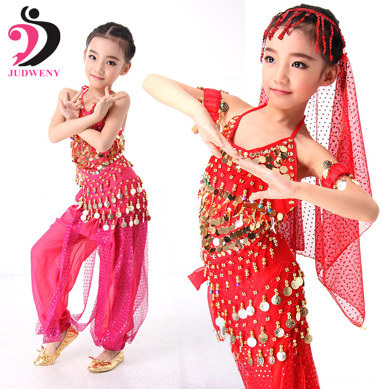 Belly Dance Kids Children Top Pant with Hip Scarf 5pcs Plus Size Handmade Kids Bollywood Indian Dance Costumes Performance Sets