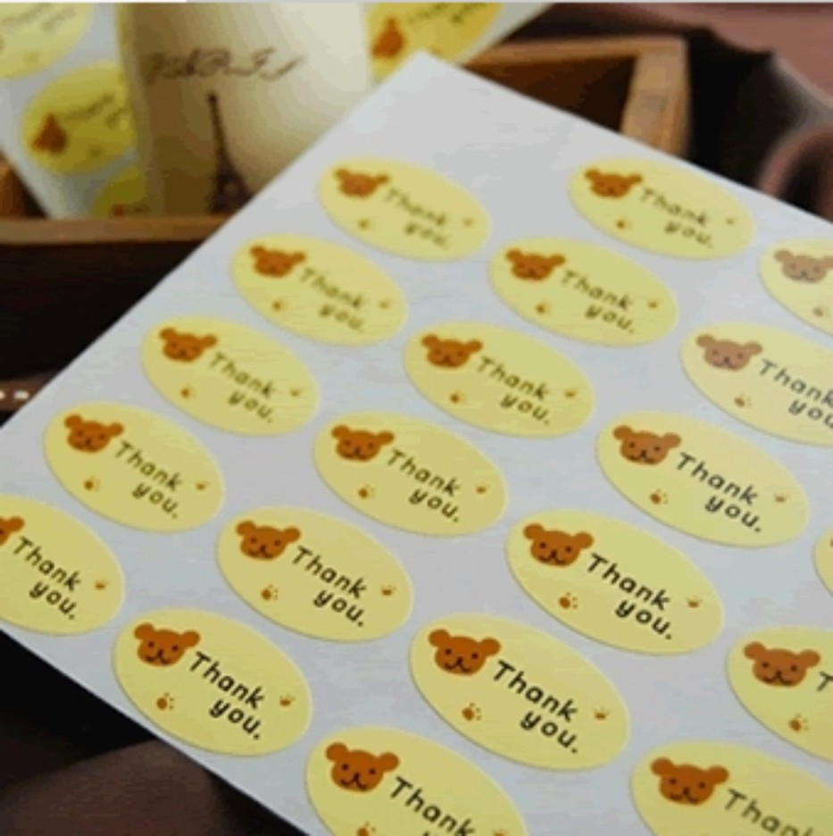 Oval Labels /'Thank you/' Bear Animal Gift Food Craft Stickers Seals