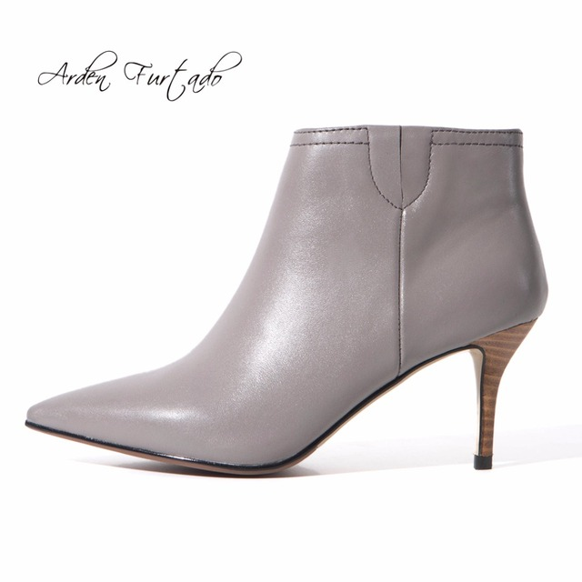 Arden Furtado 2018 autumn genuine leather slip on pointed toe fashion lower heels 5cm grey ankle boots shoes woman small size 33 sale tumblr 6Ia40c
