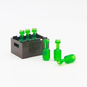 Image 4 - City Accessories Bottle Basket Building Blocks Green Grey Transparent Beer Cup Brown Parts Bricks Toys Kids Compatible Friends