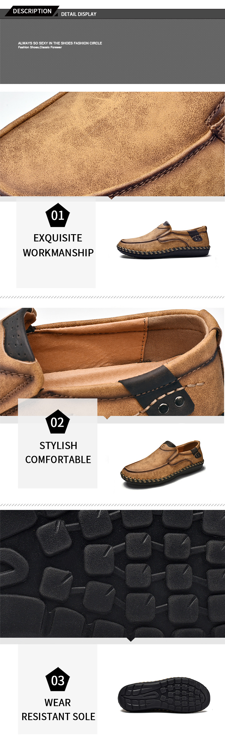 Loafers Comfortable Male Moccasins Casual Boat Footwear Vintage PU Leather Men Brown