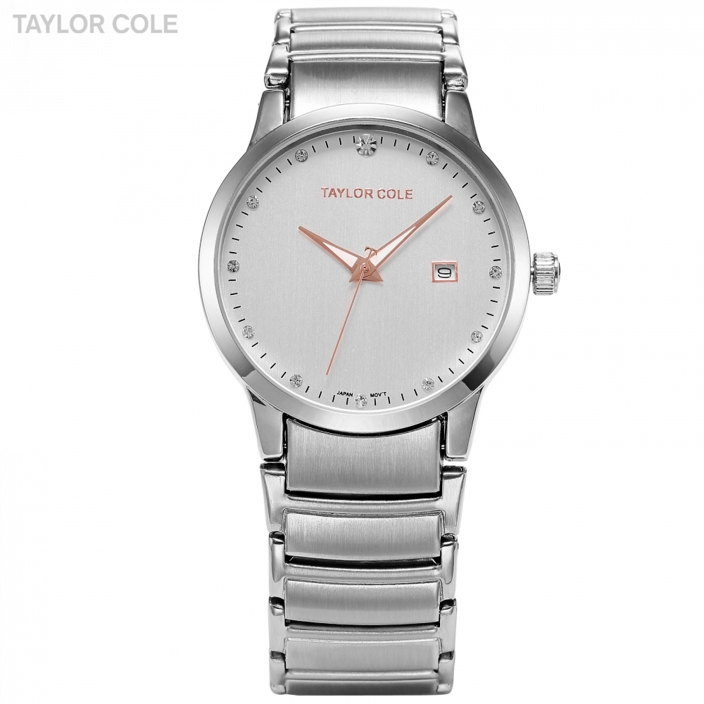 Luxury Brand Taylor Cole Slim Case Date Relogio Feminino Silver Full Steel Strap Crystal Lady Bracelet Quartz Wrist Watch /TC019 top luxury crystal brief design lady elegance slim strap leather wristwatch waterproof women quartz watch relogio feminino gift