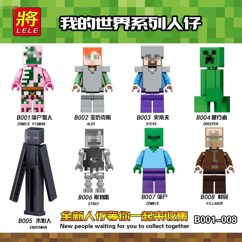 Single Sale My World Minecraftee Minifigs Little Toys With Pet Model Ninja Dragon Blocks Compatible Legoed Bricks Toys For Kids