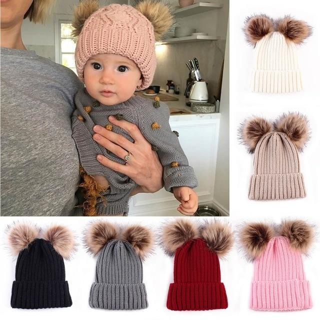 0563e6f31ea New Puseky Newborn Baby Cute Winter Warm Double Fur Balls Pompom Cap Knit  Crochet Kid Child Hats Caps For Boys Girls Hat Beanies