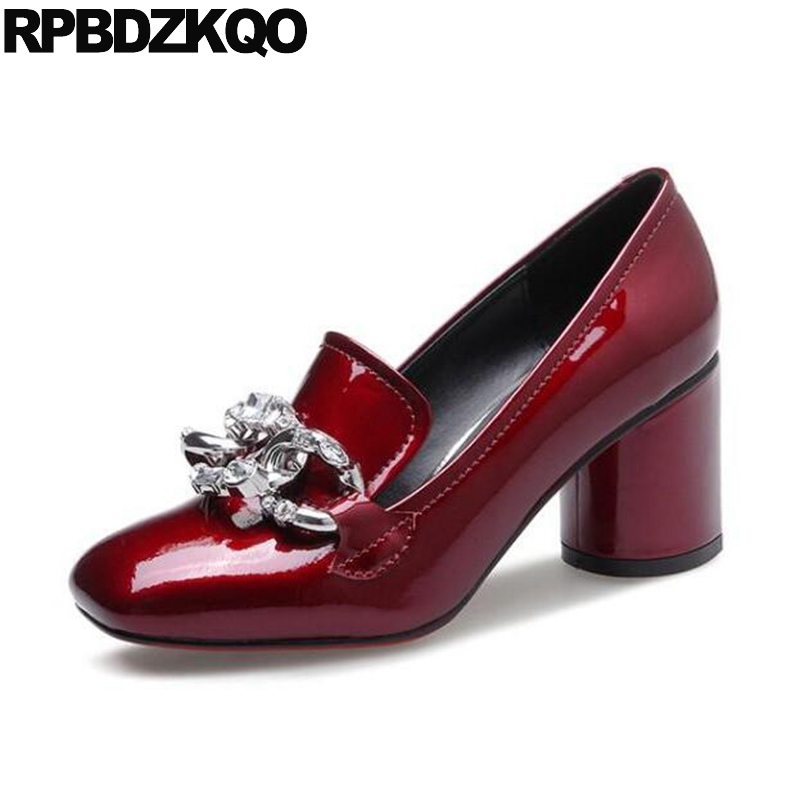 Square Toe Patent Leather Genuine Pumps Catwalk Wine Red Size 4 34 Rhinestone Black 3 Inch Female Crystal High Heels Shoes Chain patent leather pumps shoes red black