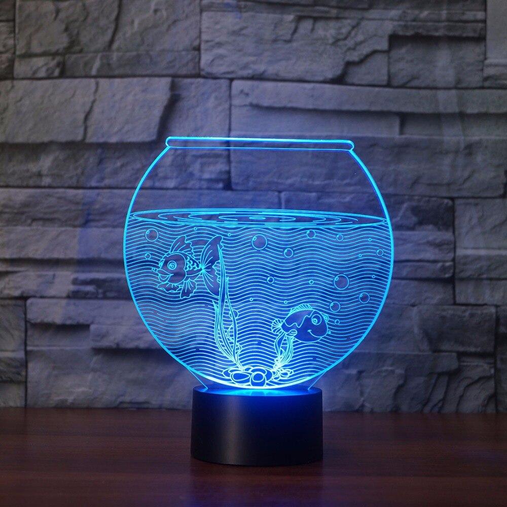 Us 1804 5 Offnowe Realistyczne Akwarium 3d Lampa Iluzoryczna 2 Morze Skrobia Led Noc światła Wizualne światła Biurko Dekoracji Domu 7 Kolorów