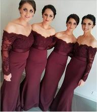 vestido Sexy Off Shoulder Lace Applique Beaded Maid of Honor Party Gowns 2018 Cheap Burgundy Mermaid Long Bridesmaid Dresses