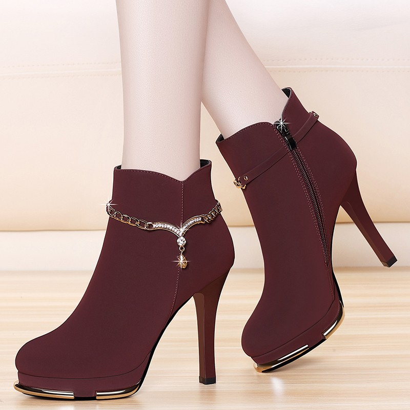 Cow Suede Leather Women Red Ankle Boots Winter Warm Fashion Sexy Round Toe Boots Zipper Fashion Boot Shoes YG-B0007