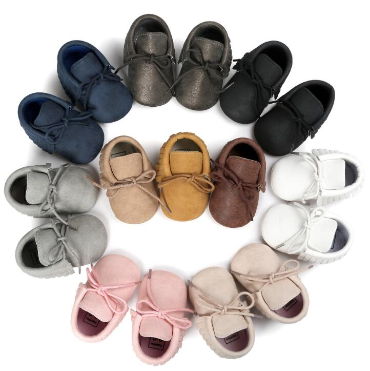 2020 Newborn Baby Shoes Boys Girls PU Suede Leather Toddler Moccasins Lace Up First Walkers Baby Shoes For 0-18M Soft Sole