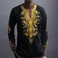 Africa Bazin Riche Dresses Hot Sale Cotton Robe Africaine 2016 New Style Fashion Men's V Collar Long Sleeved National T-shirt