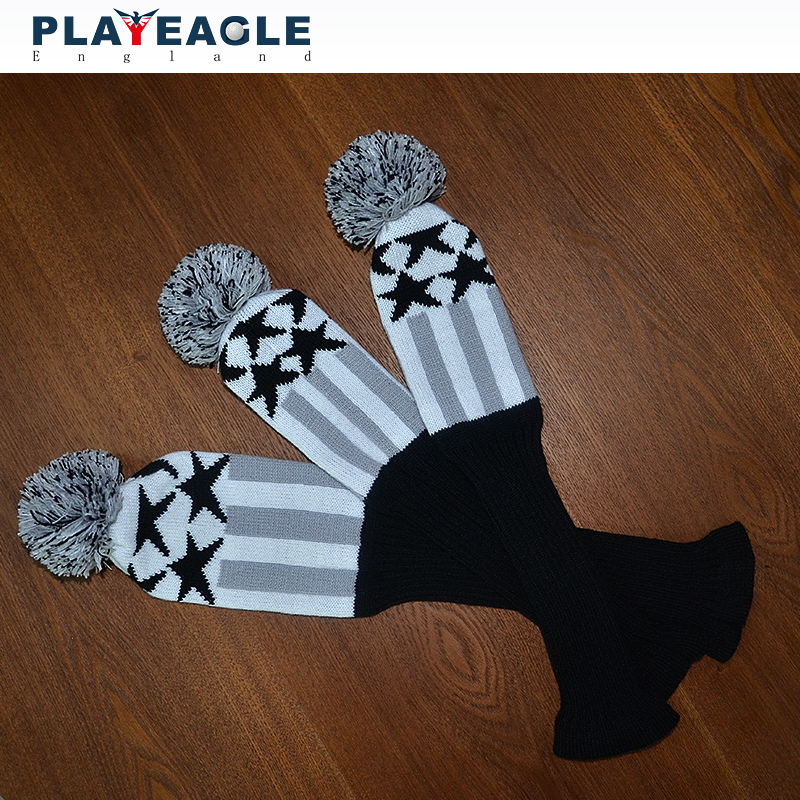 Golf Clubs Headcover 3pcs set Kniting Golf Driver Wood Head Covers Knit Wool 1 3 5 Fairway Grey Stripe Headcover with Number Tag in Club Heads from Sports Entertainment