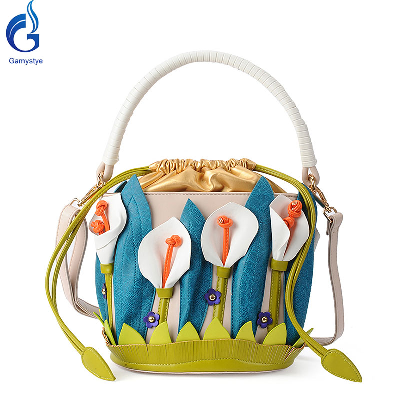 Gamystye  Women Messenger Bag flowers style Handbags 3D Lilies style Bags fashion Sweet white flowers Pu Tote Art bags gifts