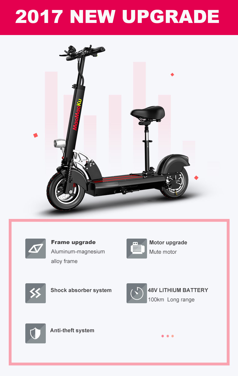HTB1aIO.e6lxYKJjSZFuq6yYlVXat - 10inch electric scooter 48V lithium battery electric bicycle 500w high speed 100km range sctooer  max speed 45-50km/h