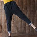 New Winter Thin Elastic Waist Loose Haroun Pants Female Knit Women Pants Flanging Cotton Jeans