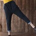 Novo Inverno Fina Cintura Elástica calças Soltas Haroun Calças de Malha Feminina Mulheres Calças Flanger Calça Jeans de Algodão