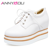 ANNYMOLI Women Shoes Platform Oxford High Heels Lace Up Pumps Wedges Increasing Creepers Round Toe Cause Shoes Women White Black