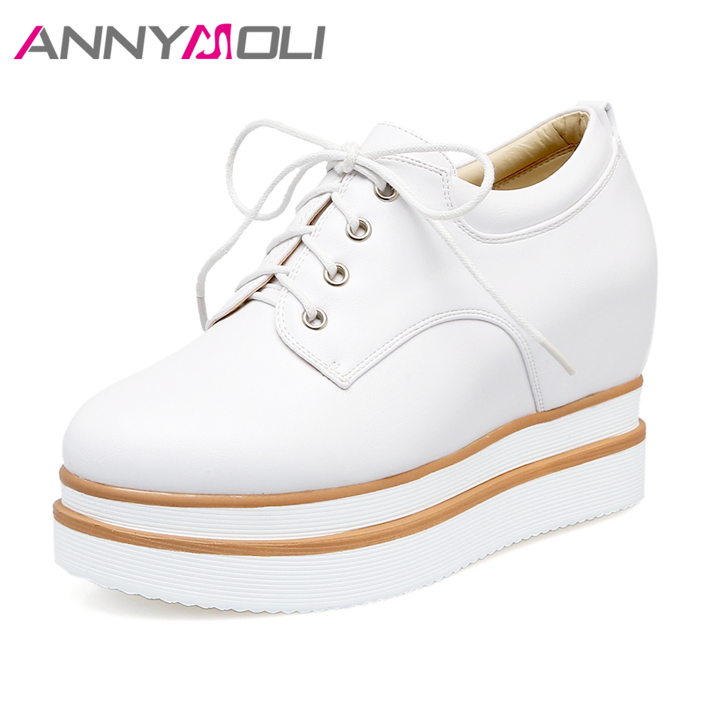 6177a1f516d44 ANNYMOLI Women Shoes Platform Oxford High Heels Lace Up Pumps Wedges  Increasing Creepers Round Toe Cause Shoes Women White Black