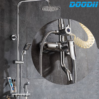 1SET Top Quality Bath Shower Faucets Set Bathroom Mixer Shower Bathtub Taps Rainfall Shower Wall Torneira Tap Shower Head Doodii