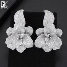 GODKI 66mm Trendy Luxury Rose Flower Nigerian Long Dangle Earrings For Women Wedding Zirconia CZ Dubai Dubai Silver Earrings