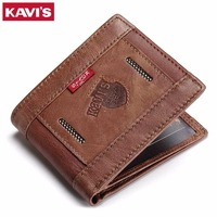KAVIS Genuine Leather Wallet Men Coin Purse PORTFOLIO MAN Male Cuzdan Portomonee Fashion Vallet Rfid Money
