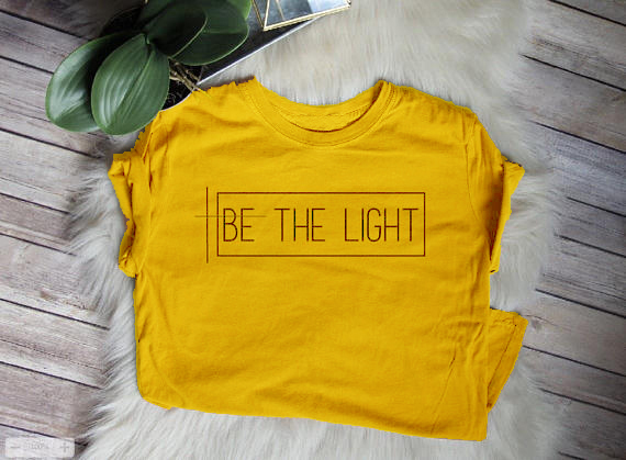 New Fashion Clothing Crewneck Be The Light Tumblr Letter T-Shirt Trendy  Casual Tops Yellow f7d049bbc