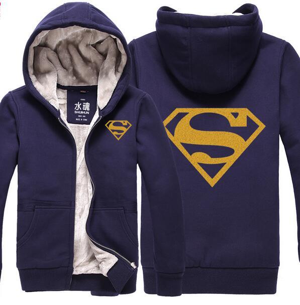 ec07f97b2 Superman Hoodie gold blocking logo Hoodies Coat Men and women Winter Coat  thick plush Jacket High quality Sweatshirt