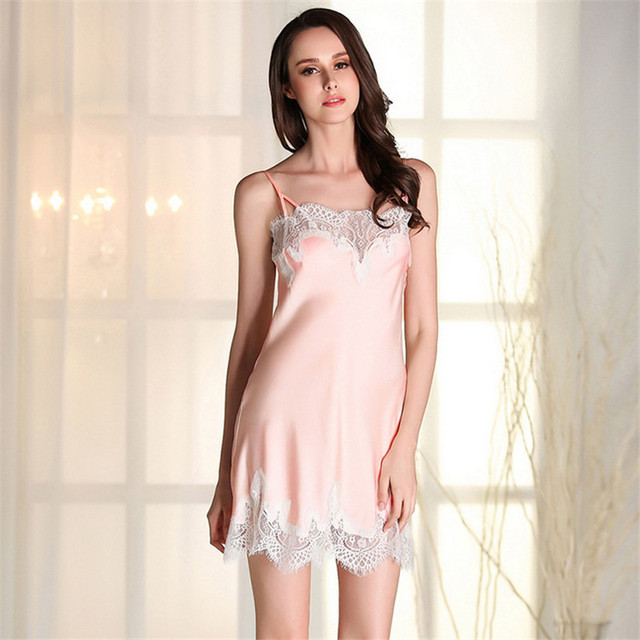 New Sexy Spaghetti Strap skirts sleepwear Breathable Silky silk satin nightgowns high quality women nightwear Factory outlets