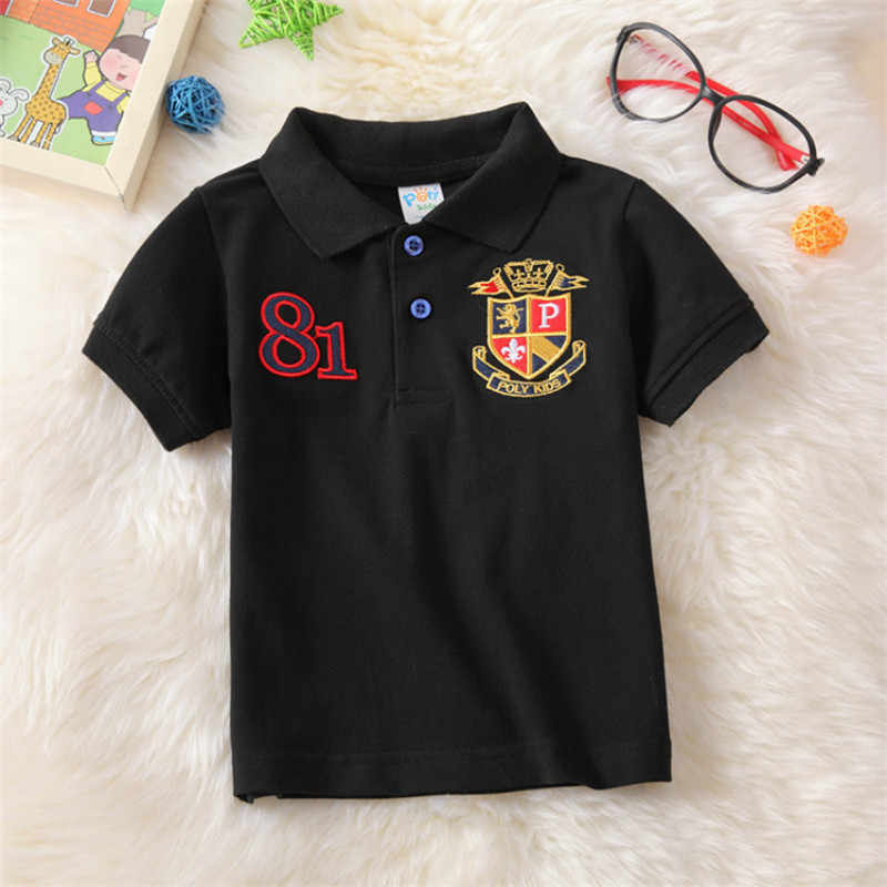 Baby Boy Polo Shirts Kids Boys Cotton Sports Short Sleeve Shirt Embroidery Badge Boy Shirt Fashion Baby Boy Clothes 2-8 Years