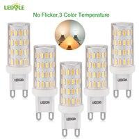 LEDGLE 5Pcs 6W LED Light Bulbs G9 LED Lamp Bulb 3 Color Temperature Modes Non Dimmable