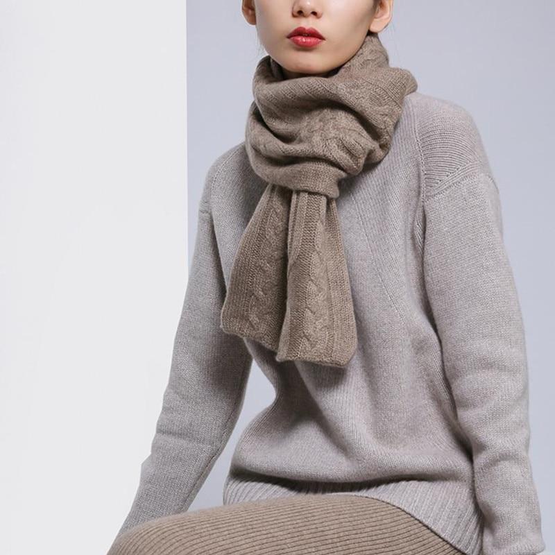 100% chèvre cachemire torsadé tricot nouvelle mode etroite longue écharpes pour femmes ou enfants 26x86 cm écru violet marron 4 couleur
