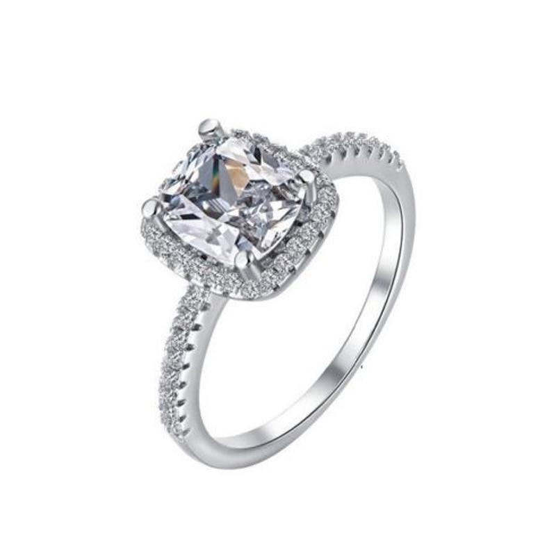 2019 Mode Kristall Ringe Zeigen Elegante Temperament Schmuck Frauen Mädchen Weiß Silber Stein Gefüllt Hochzeit Ring Drop Verschiffen