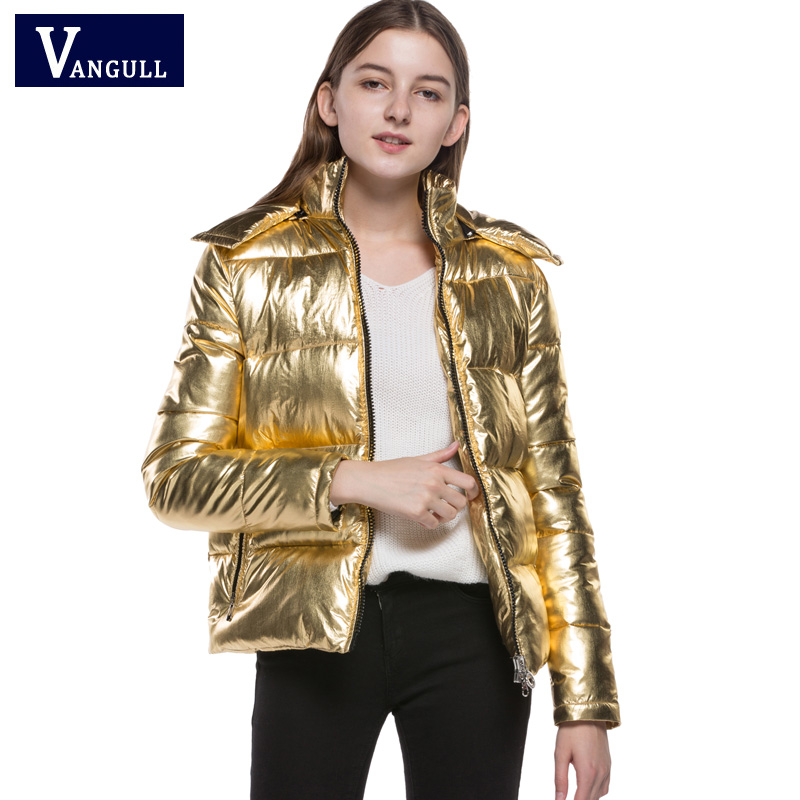 2018 nouveau hiver vente chaude femmes vêtements manteau lâche décontracté dame lumineux lumière or couleur solide zipper chaud femmes veste