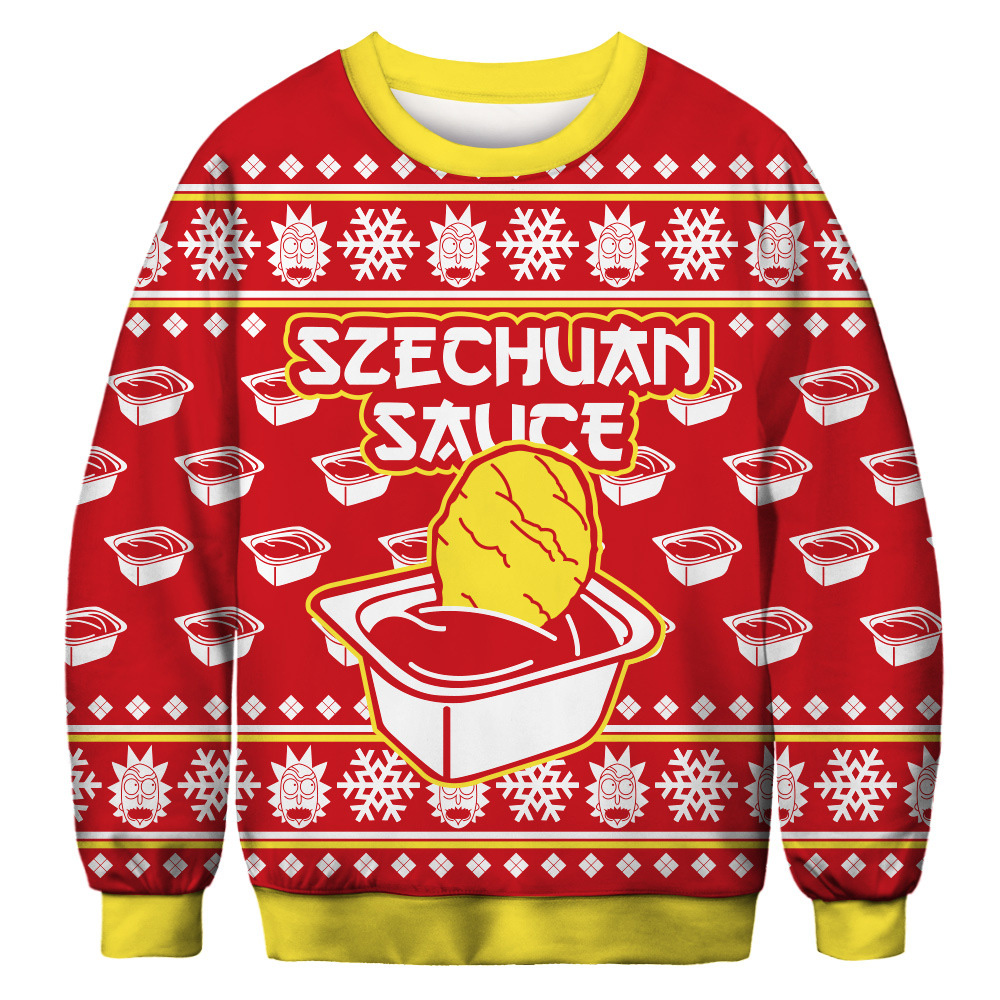 Fashion Men Women Funny Christmas 3D Print Hoodies Sauce Long Sleeve O-Neck Sweatshirt Casual Hip Hop Streetwear Pullovers