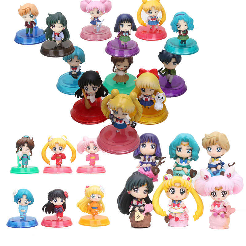 6pcs/lot Anime Sailor Moon School Life Tsukino Mars Jupiter Venus Mercury Open Or Close Eyes SailorMoon PVC Figures Toy Doll