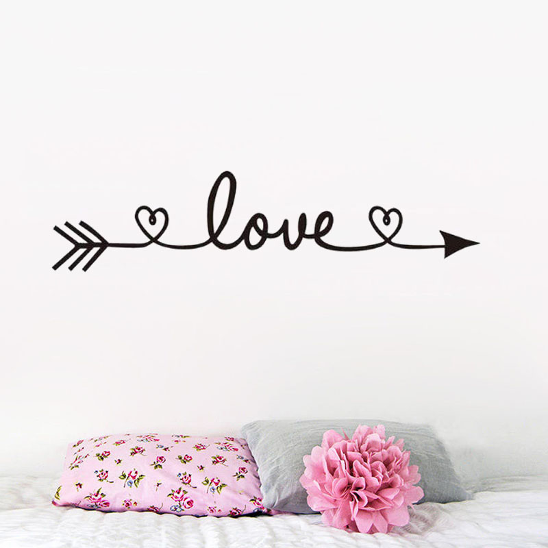 ZOOYOO Love Arrow Wall Sticker Home Decor Removable Living Room Bedroom Decoration Wall Art Murals Decals