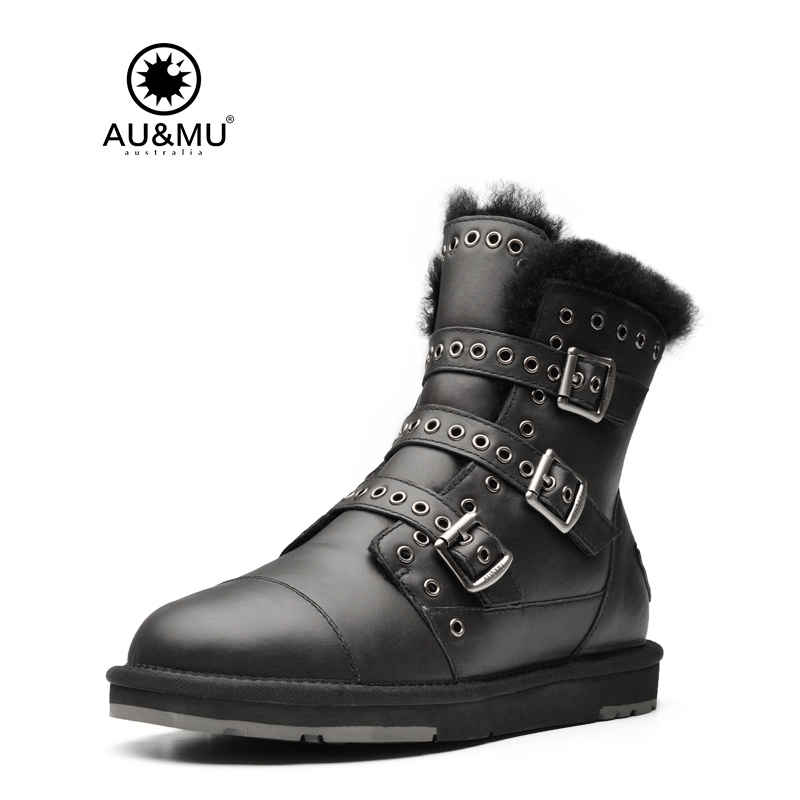 2018 AUMU Australia Leather Metal Buckle Leather Strap Thick Platform Lace-up Round Toe Snow Winter Boots N359 2017 aumu australia comfort suede fur mid calf flat lace up round toe winter snow boots ug n728