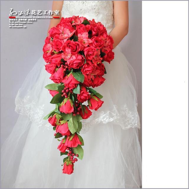 Handmade Artificial Waterfall Wedding Bouquets Buque De Noiva Artificial Brooch Bouquet Red Rose Bridal Bouquet