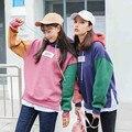 Толстовки женщин 2017 Весна harajuku корейский капюшоном Случайный Лоскутное каваи Милые Письма Печатаются кактус кокосовое футболка женщин