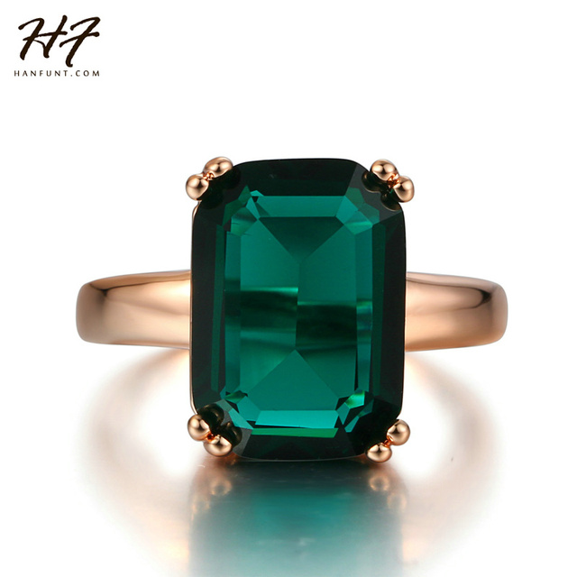 New Rose Gold Color Ring Fashion Red/Green Big Square Crystal Wedding Jewelry Fo