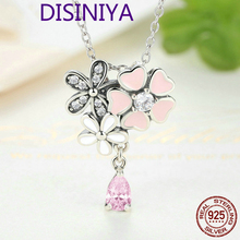 100% Real 925 Sterling Silver Poetic Daisy Cherry Blossom Pendant Necklaces With Pink CZ For Women Jewelry Girlfriend Gift