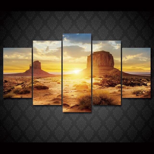 5 Pcs/Set Framed HD Printed Sunset Desert Landscape Wall Art Picture ...