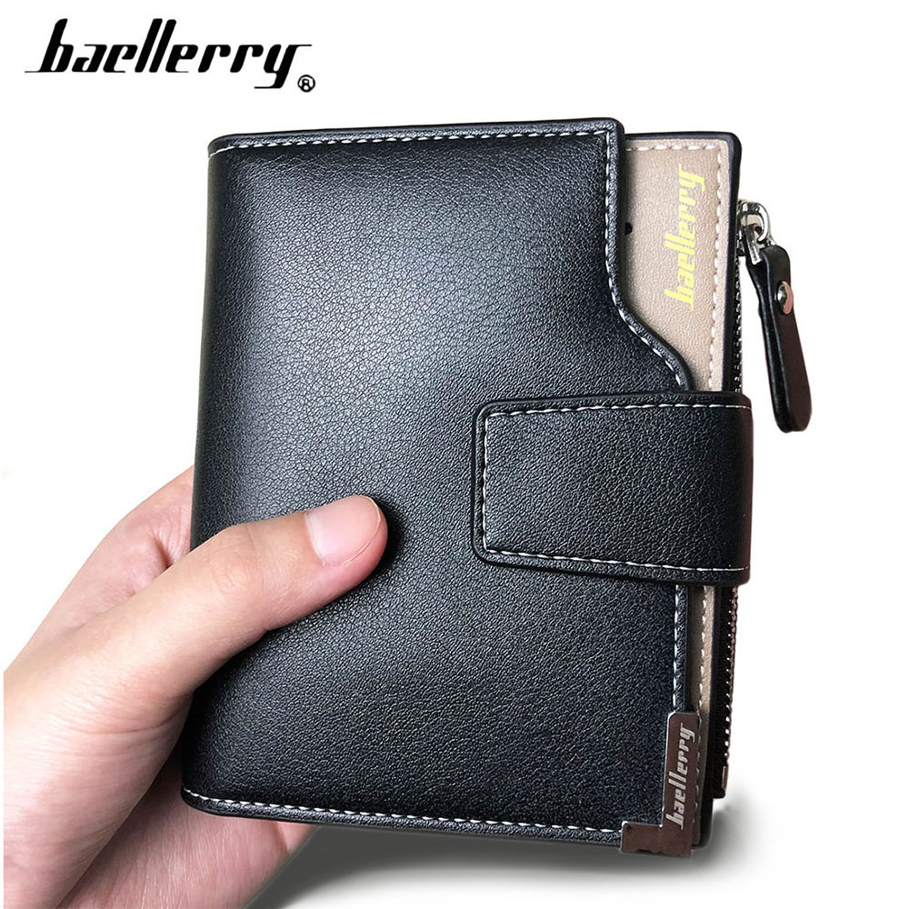 2019 Baellerry Business Men Wallets PU Leather Short Zipper Card Photo Holder Style Casual Male Wallets Luxury Men Purses