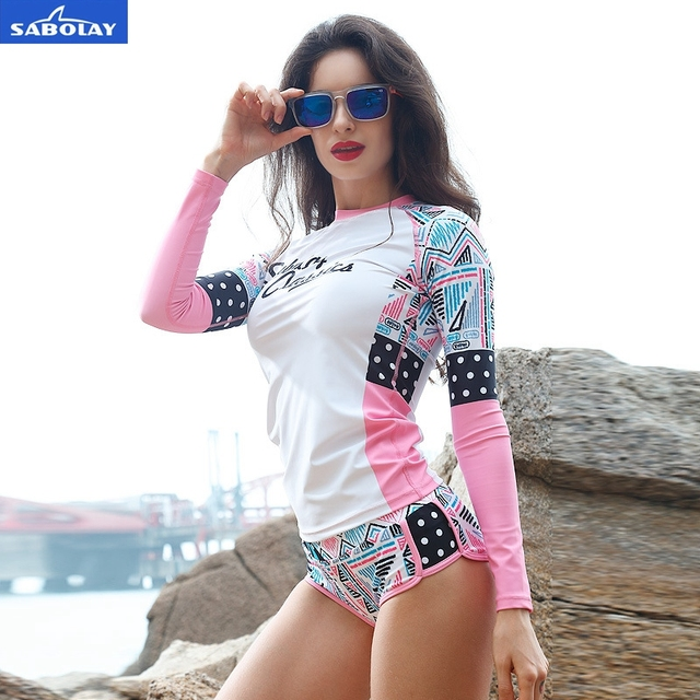 SABOLAY women Rashguard shirts Surf quick-drying female beach clothes suit protect hurt by jellyfish sunshine Swimming Shirt