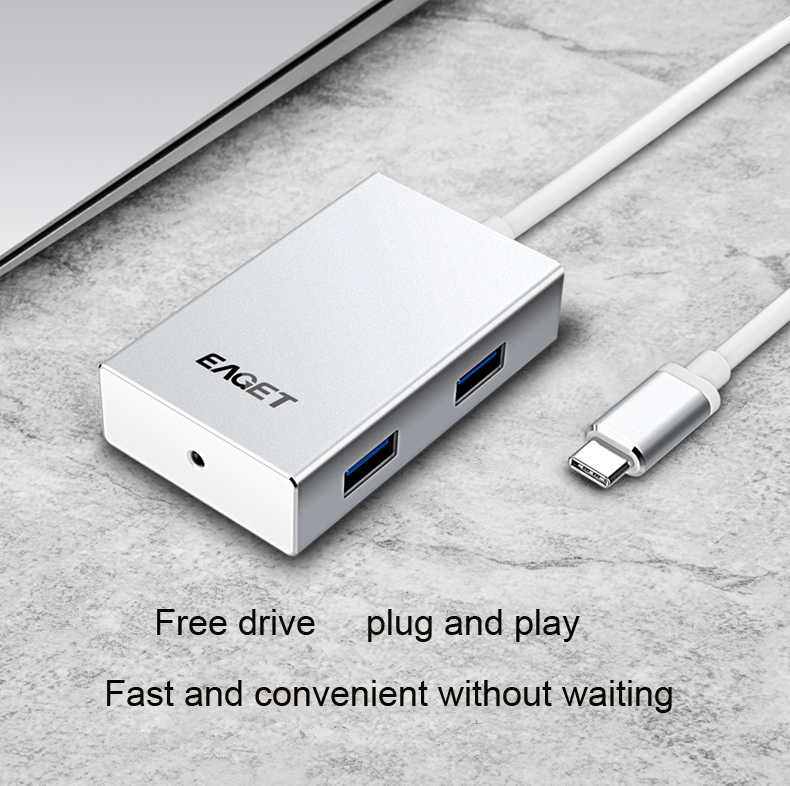 цена на Type C USB Hub USB-C to 4-Port USB 3.0 Hub for USB Type-C Devices MacBook ChromeBook Pixel, and Other Devices)
