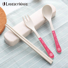 LANSKYWARE Cute Cartoon Kids Dinnerware Set Japanese Bamboo Children Tableware Portable School Picnic Cutlery Dinner